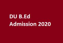 DU B.Ed Admission 2020